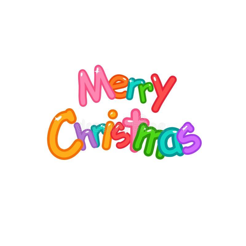 Веселое рождество, вектор шрифта воздушных шаров пузырей, милого и красочных иллюстрация вектора