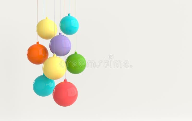 Веселое рождество и Новый Год 3d представляют карту иллюстрации с красочными лоснистыми шариками xmas Украшение зимы, минимальный бесплатная иллюстрация