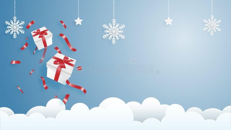 Веселое рождество и счастливая поздравительная открытка Нового Года в бумажном отрезанном стиле Предпосылка торжества рождества и бесплатная иллюстрация