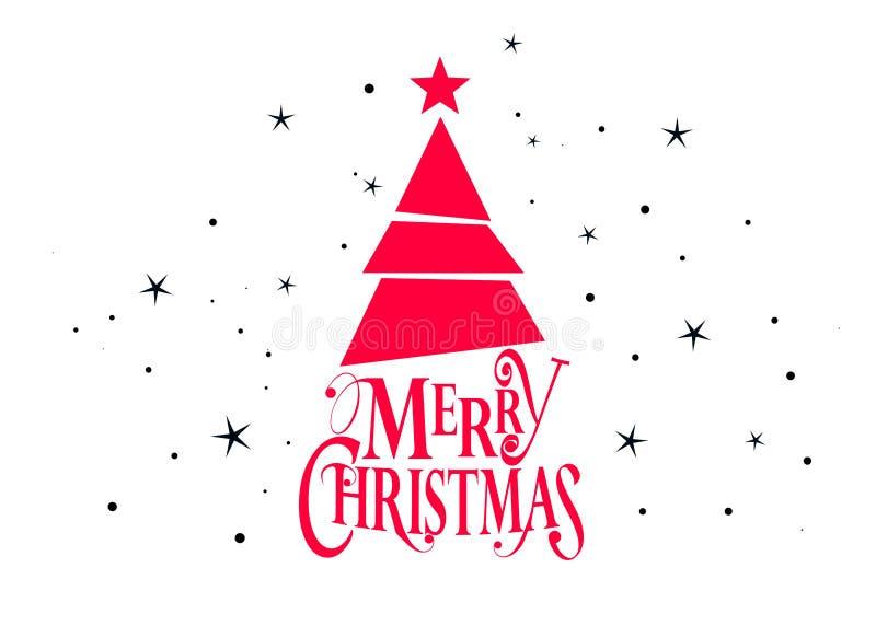 Веселое рождество и счастливый дизайн вектора Нового Года с рождественской елкой и звездами бесплатная иллюстрация