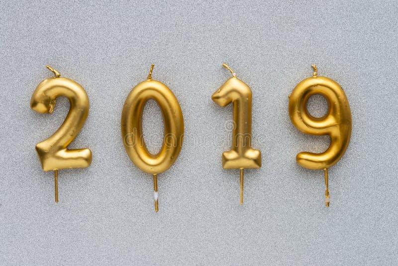 Веселое рождество и счастливый план 2019 Нового Года 2019 свечей золота стоковое фото rf