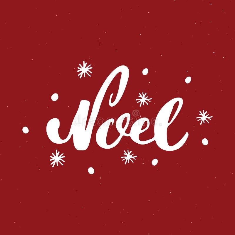 Веселое рождество каллиграфическое помечая буквами Noel Типографский дизайн приветствиям Литерность каллиграфии для приветствия п иллюстрация штока