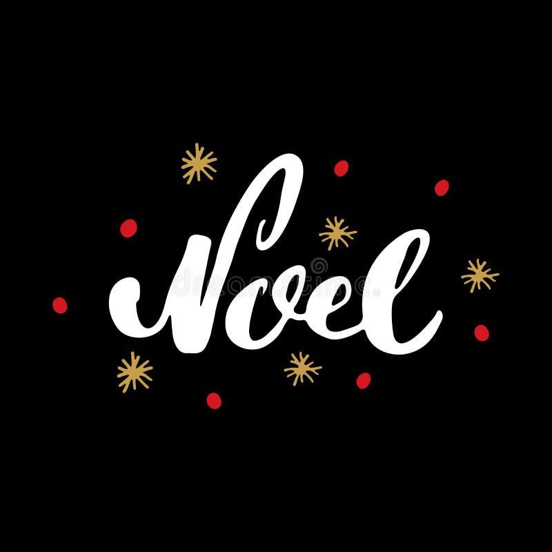 Веселое рождество каллиграфическое помечая буквами Noel Типографский дизайн приветствиям Литерность каллиграфии для приветствия п бесплатная иллюстрация