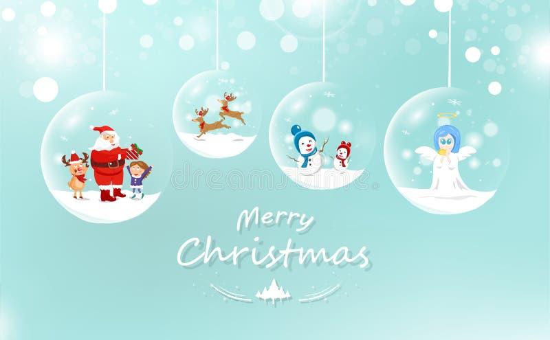 Веселое рождество, Санта Клаус и ребенк с подарком, северным оленем и sno иллюстрация вектора