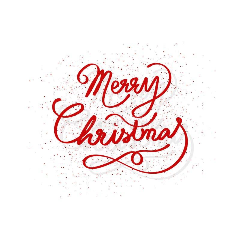 Веселое рождество, сообщение стиля ленты каллиграфии украшает с разбрасывает точки текстуру, вектор предпосылки взрыва пыли иллюстрация вектора