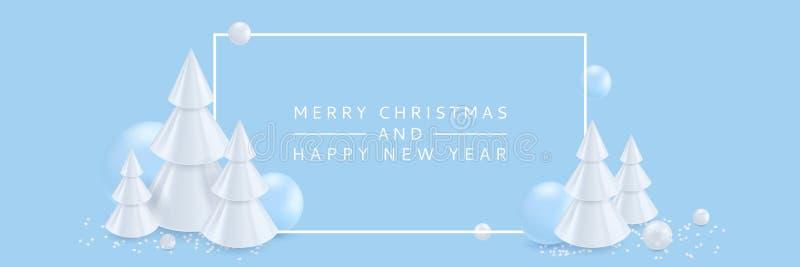 Веселое рождество, С Новым Годом! знамя, предпосылка плаката Иллюстрация вектора 3d абстрактных белых рождественских елок иллюстрация штока