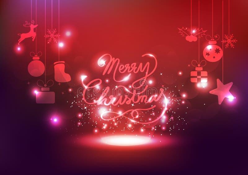 Веселое рождество, украшение, звезды торжества освещает неон, glowi иллюстрация вектора