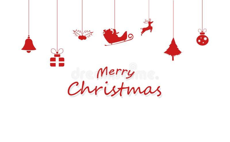 Веселое рождество, украшение, Санта Клаус, северный олень, подарок, шарик иллюстрация штока
