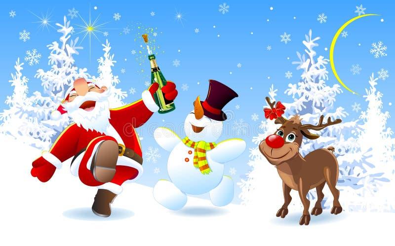 Веселое Санта, олени и снеговик бесплатная иллюстрация