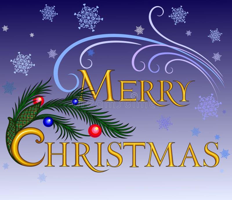Веселое Christmas.inscription иллюстрация вектора