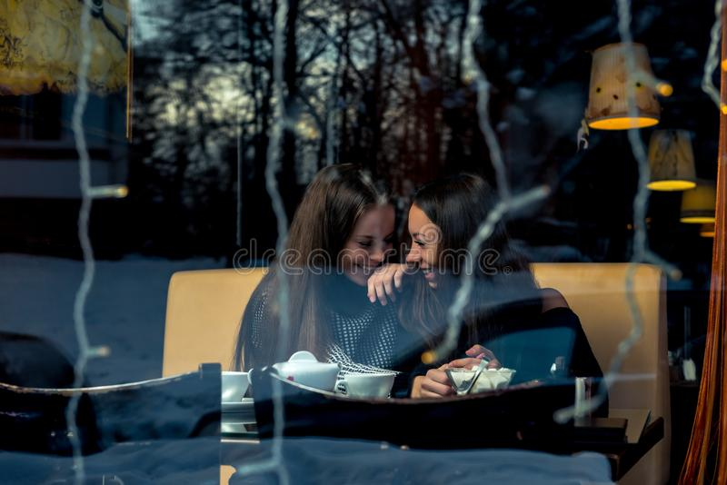 Веселые подруги, встречающ в кафе, снимая позади стоковое изображение rf