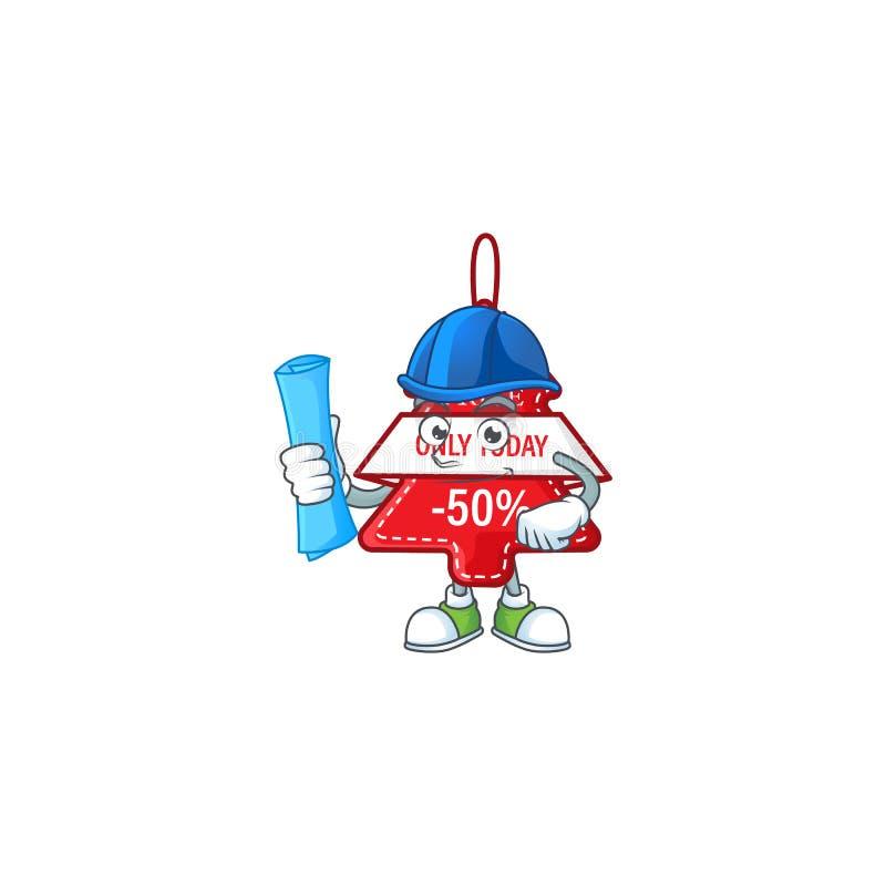 Веселый архитектор christmas лучший ценник мультфильм стиль держит синие отпечатки иллюстрация вектора