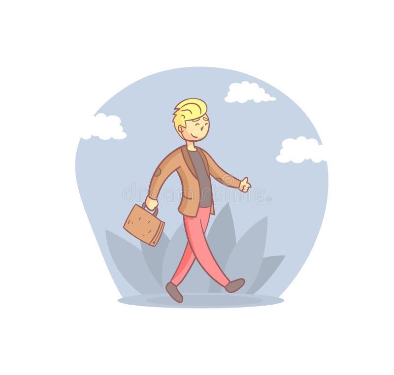 Веселый бизнесмен, прогуливающийся с иллюстрацией переносчика картонального мультфильма 'Молодой человек ежедневно' иллюстрация вектора