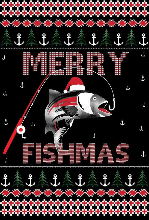 Веселый дизайн футболки стиля HoHoHo рождества Fishmas некрасивый иллюстрация вектора