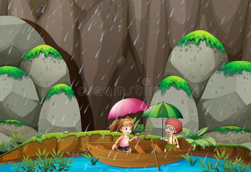Весельная лодка мальчика и девушки на дождливый день бесплатная иллюстрация