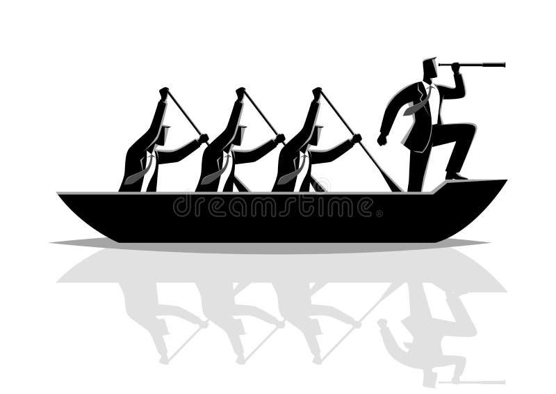 Весельная лодка сыгранности силуэта бизнесмена иллюстрация штока