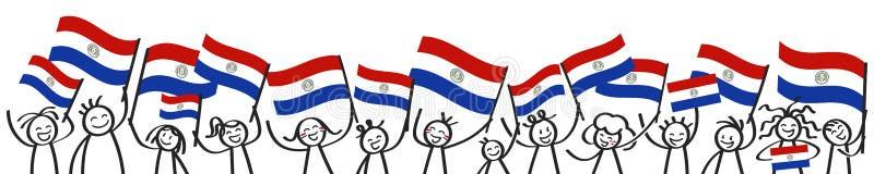 Веселя толпа счастливых диаграмм ручки с парагвайск национальными флагами, усмехаясь сторонниками Парагвая, знаменем вентиляторов иллюстрация вектора
