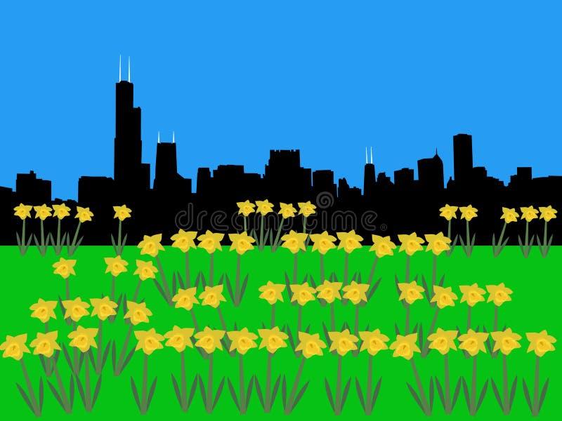 весеннее время горизонта chicago иллюстрация вектора