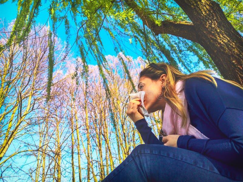 Весеннее время гриппа дуя носа дыхательное аллергическое сезонное - аллергия цветня лихорадки сена стоковая фотография