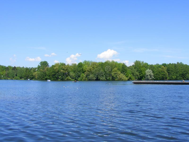 Весенний день в парке около озера, природа парка в Минске, Беларуси стоковая фотография