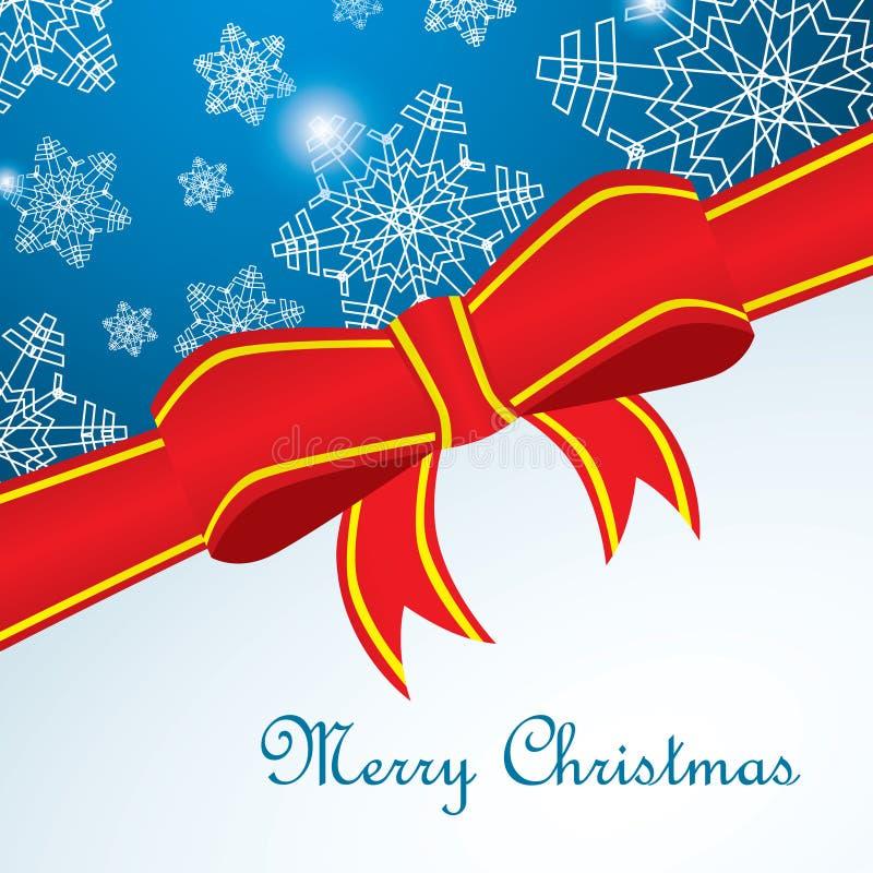 Веселая карточка Cristmas с снежинкой и красной лентой бесплатная иллюстрация