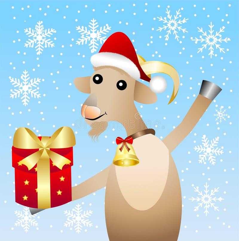 Веселая коза с подарком на голубой предпосылке с снежинками бесплатная иллюстрация
