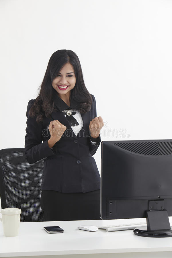 Веселить бизнес-леди стоковое изображение rf
