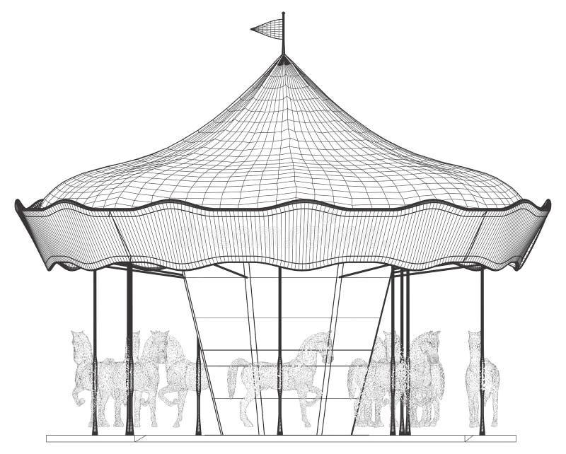Весел-Идти-круглый вектор Carousel лошади бесплатная иллюстрация