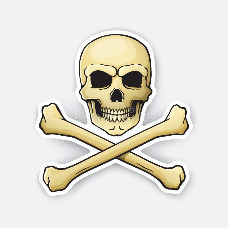 Веселый Роджер черепа стикера с перекрещенными костями на дне иллюстрация штока