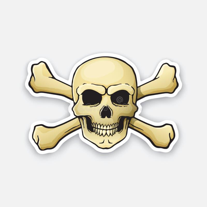 Веселый Роджер черепа стикера с перекрещенными костями позади иллюстрация штока