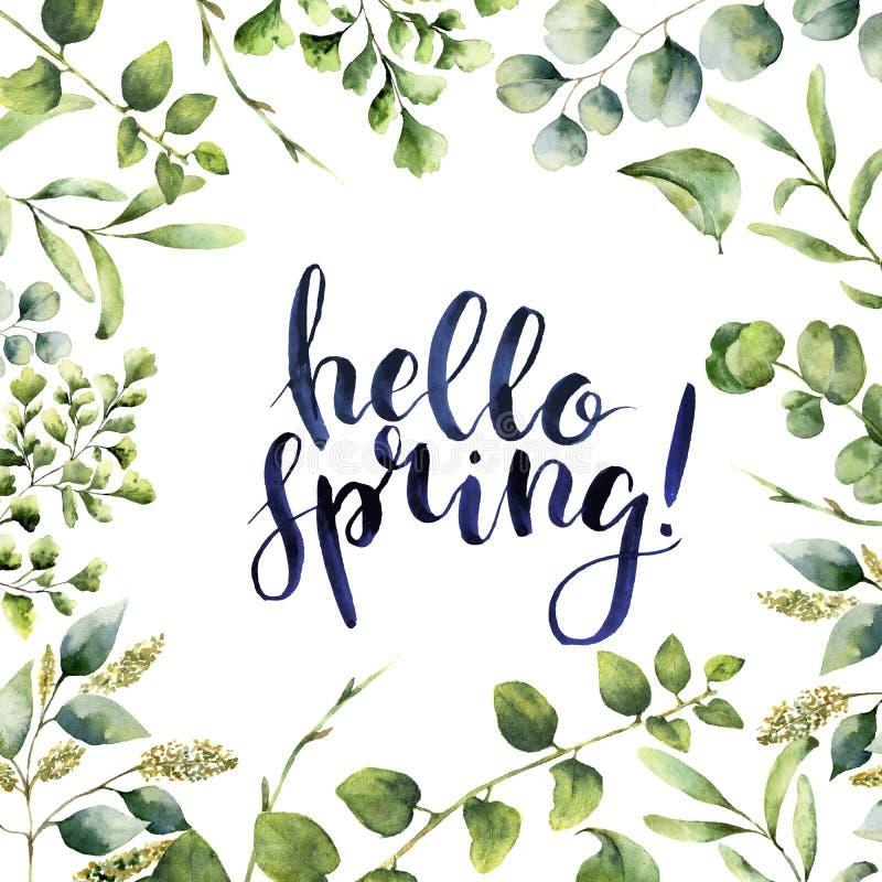 Весна акварели здравствуйте! Рука покрасила флористическую карточку при ветви евкалипта, папоротника и растительности весны изоли иллюстрация штока