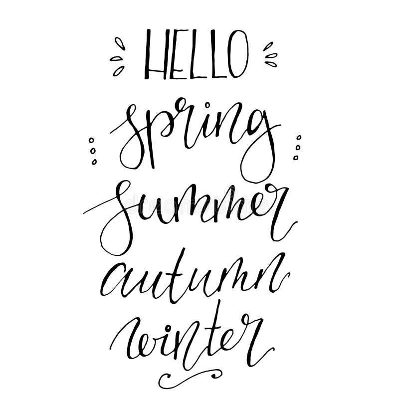 Весна вектора здравствуйте, лето, осень, фразы литерности зимы Рука покрасила литерность изолированный на белой предпосылке иллюстрация штока