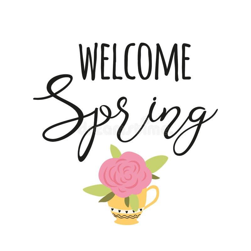 Весна гостеприимсва текста вектора весны цитаты оформления украсила руку вычерченный пинк поднял в цветок фразы чашки милый иллюстрация штока