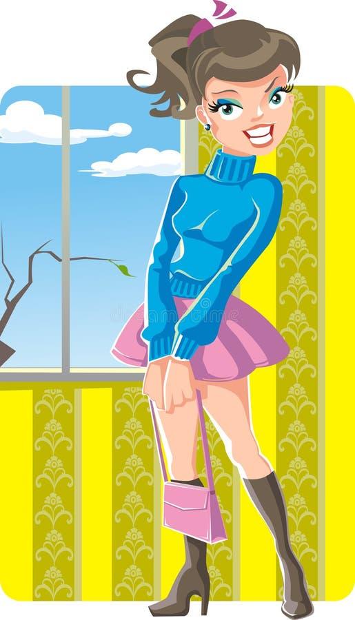 весна девушки милая иллюстрация штока