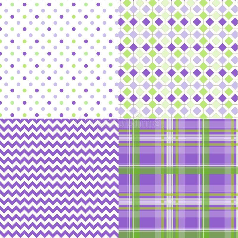 Весна делает по образцу пурпур зеленого цвета шотландки Шеврона иллюстрация вектора