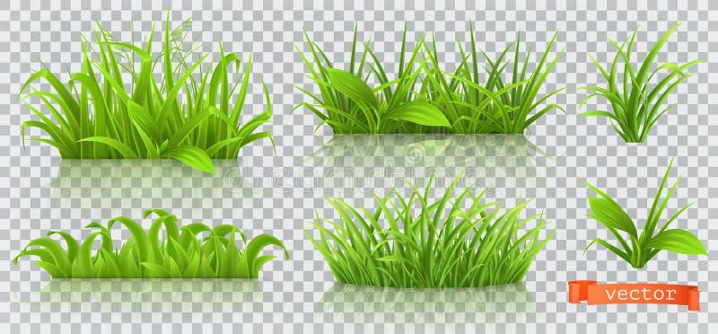 Весна, зеленая трава комплект значка вектора 3d иллюстрация вектора