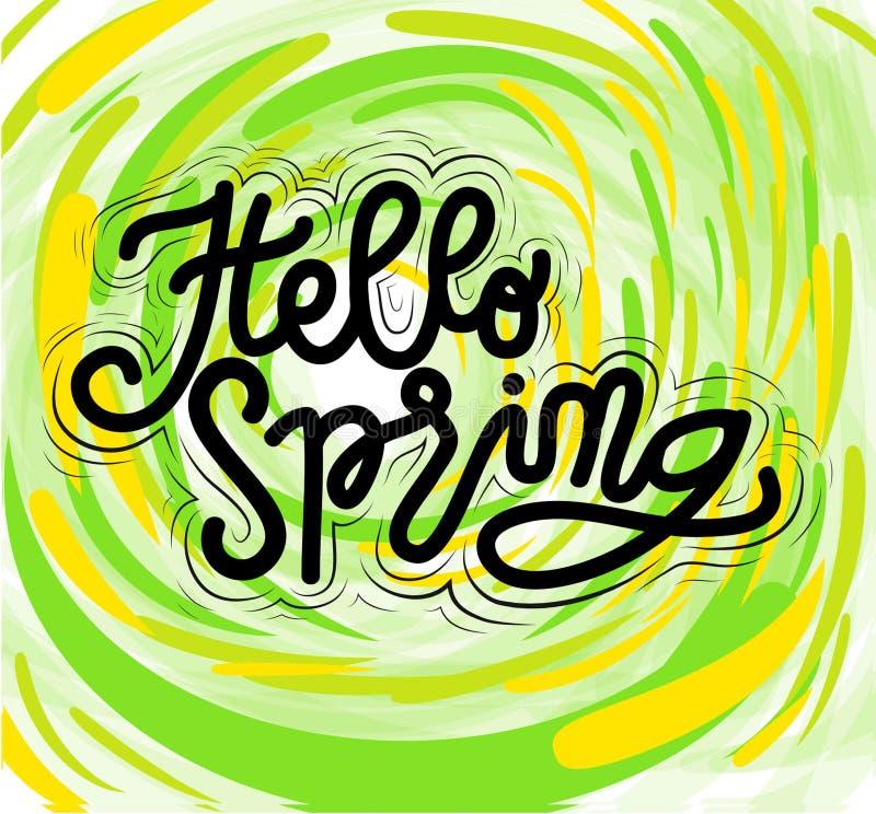Весна знака здравствуйте, шаблон, тип руки вычерченный вектор бесплатная иллюстрация