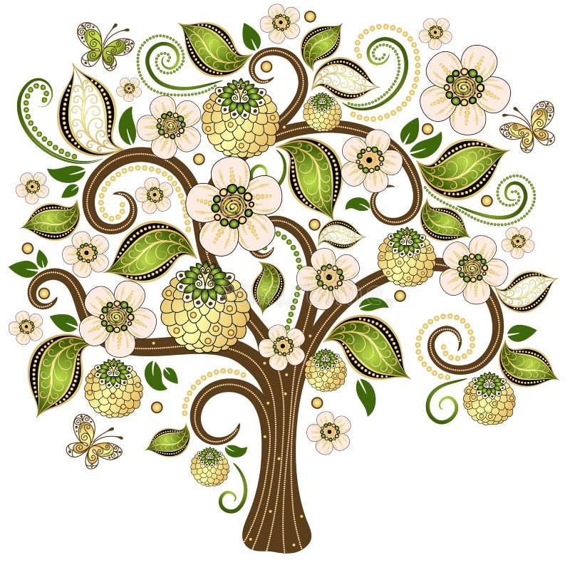 Дерево весны декоративное иллюстрация штока