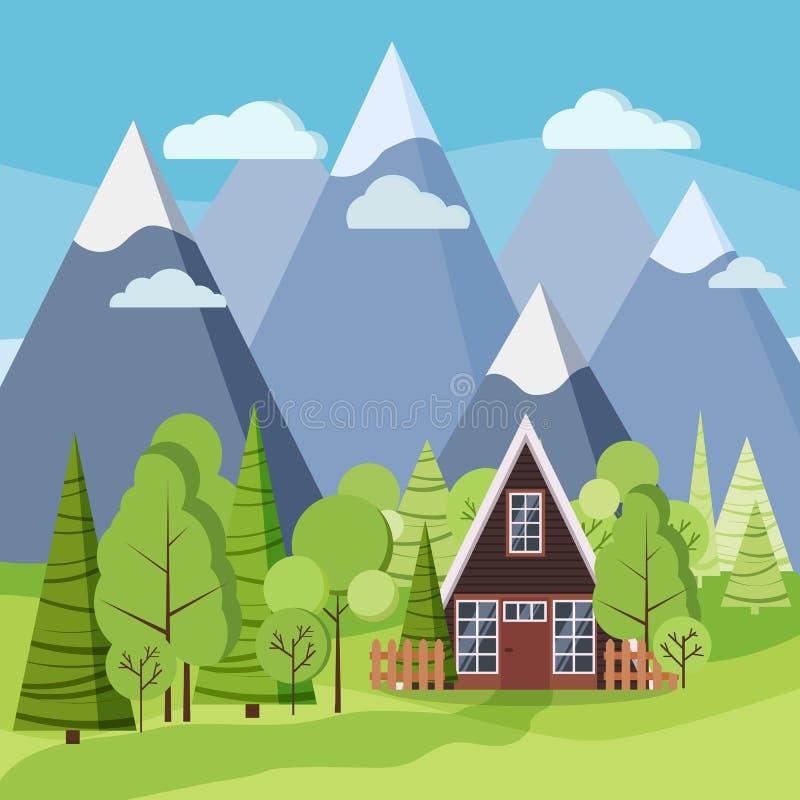 Весна или ландшафт лета с домом -рамки страны, иллюстрацией предпосылки вектора бесплатная иллюстрация