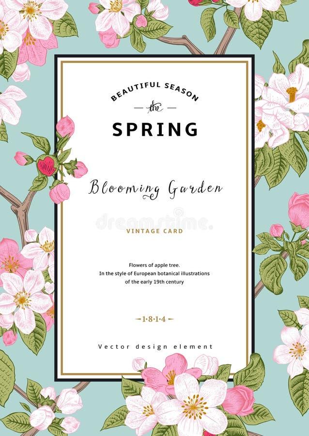 Весна карточки винтажного вектора вертикальная иллюстрация штока