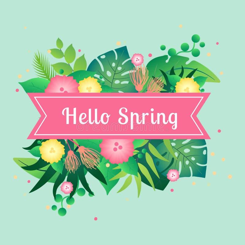 Весна карты шаблона здравствуйте с тропическими листьями бесплатная иллюстрация