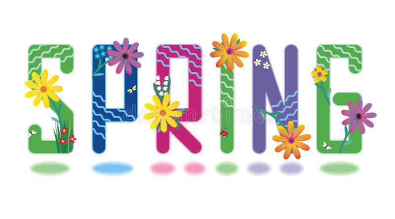весна комплекта алфавита миниая иллюстрация штока
