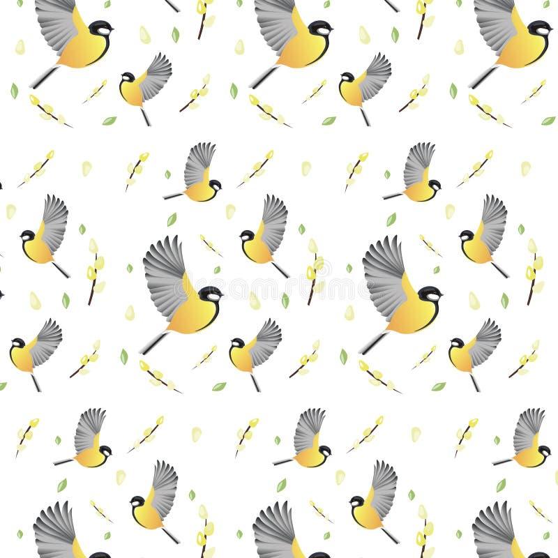 Весна предпосылки обоев цветет птицы стоковые изображения