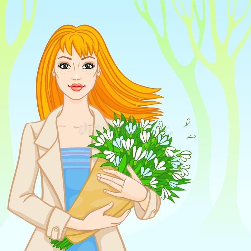 Весна. рыжеволосая женщина с snowdrops бесплатная иллюстрация