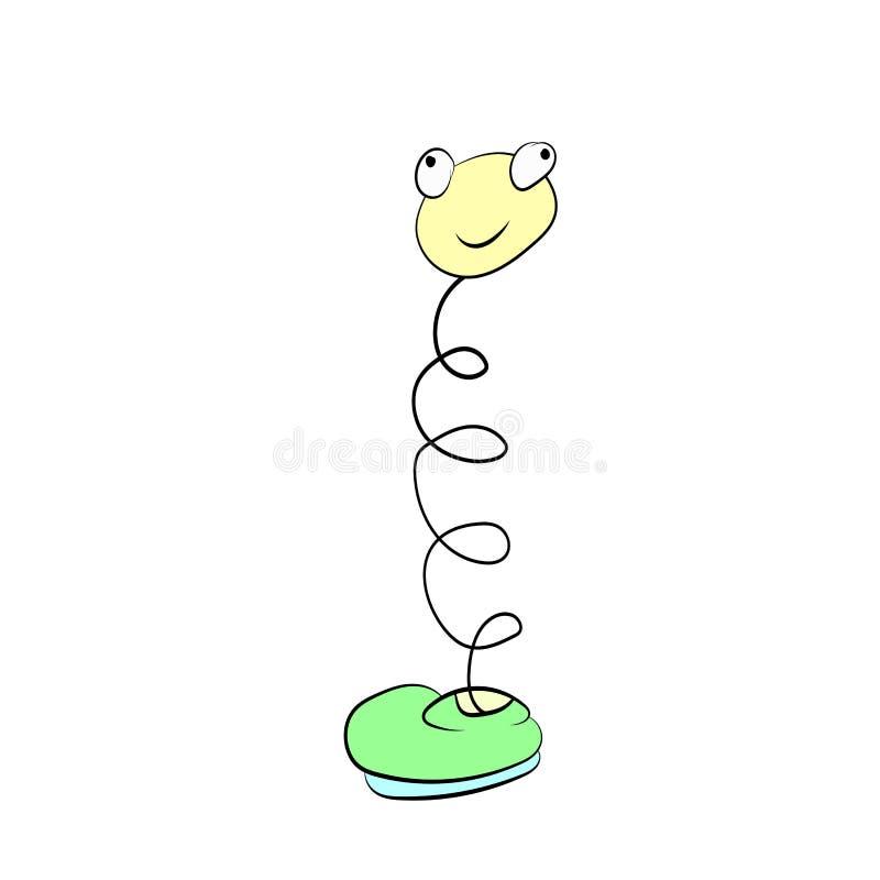 Весна с глазами в улыбках зеленых ботинка, чертеж мультфильма иллюстрация штока