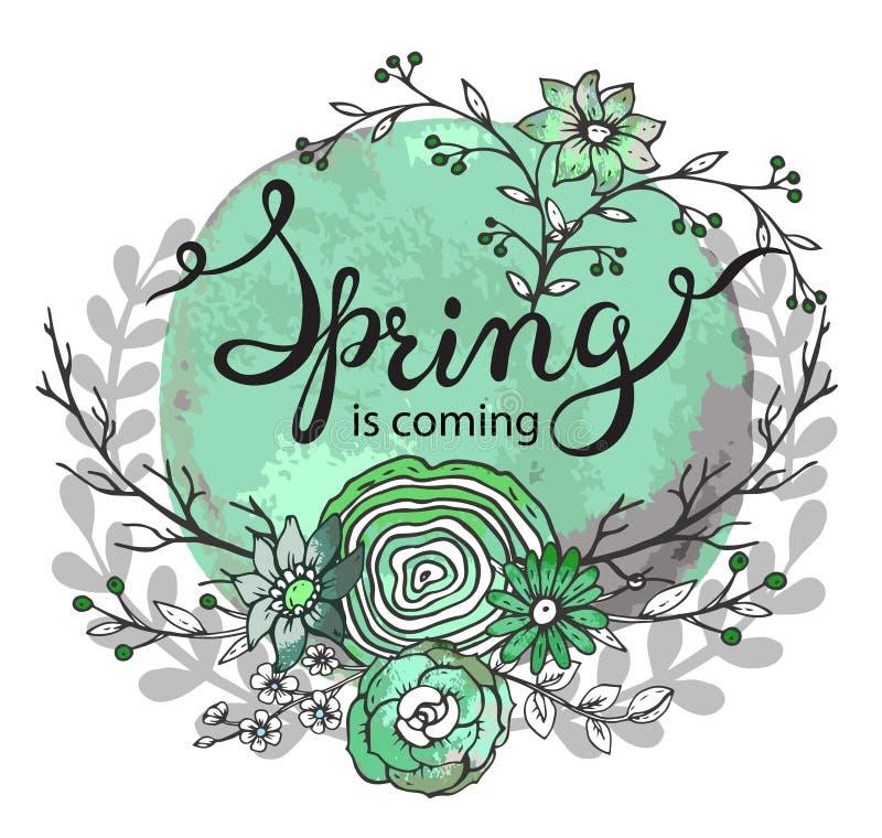 Весна слов литерности руки приходит с флористическим венком бесплатная иллюстрация