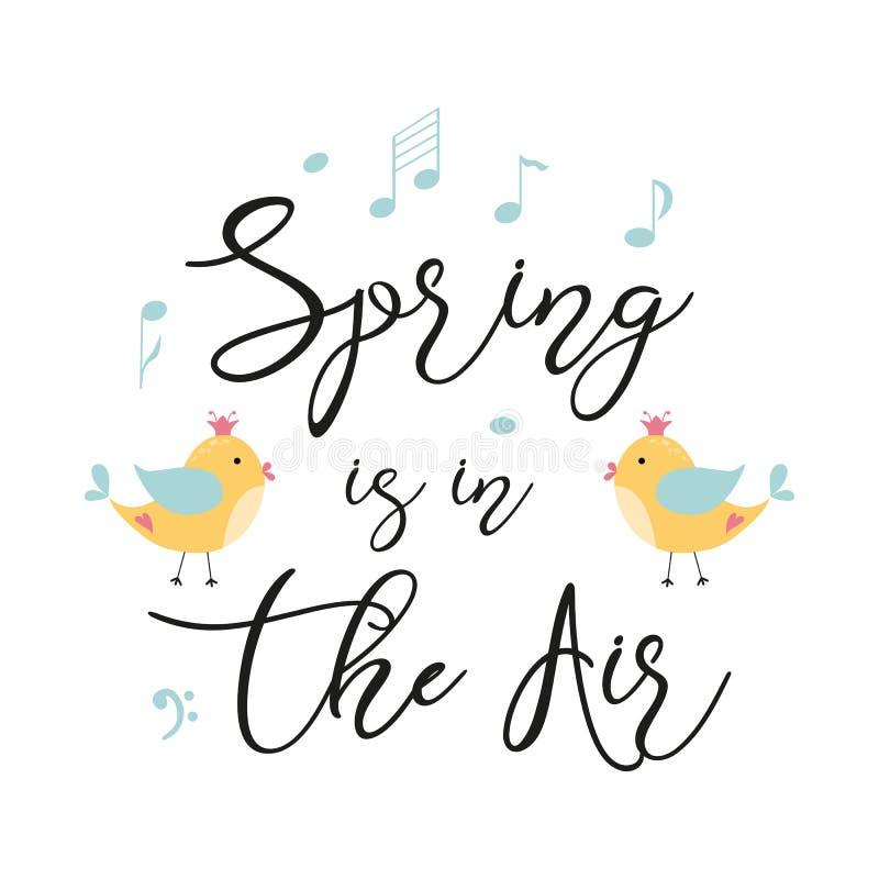 Весна текста вектора весны цитаты оформления в руке украшенной воздухом вычерченные желтые птицы замечают милую печать фразы бесплатная иллюстрация