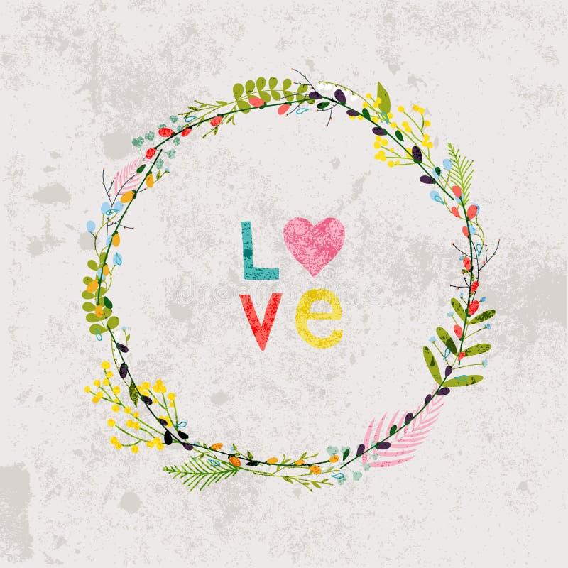 Весна цветет, листья, одуванчик, трава на винтажной предпосылке бесплатная иллюстрация
