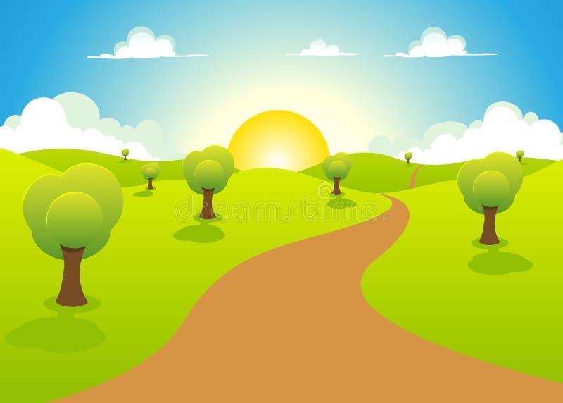 Весна шаржа или ландшафт лета иллюстрация вектора