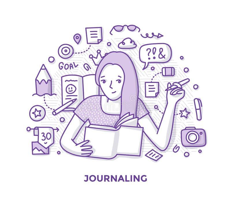 Вести дневник Doodle бесплатная иллюстрация